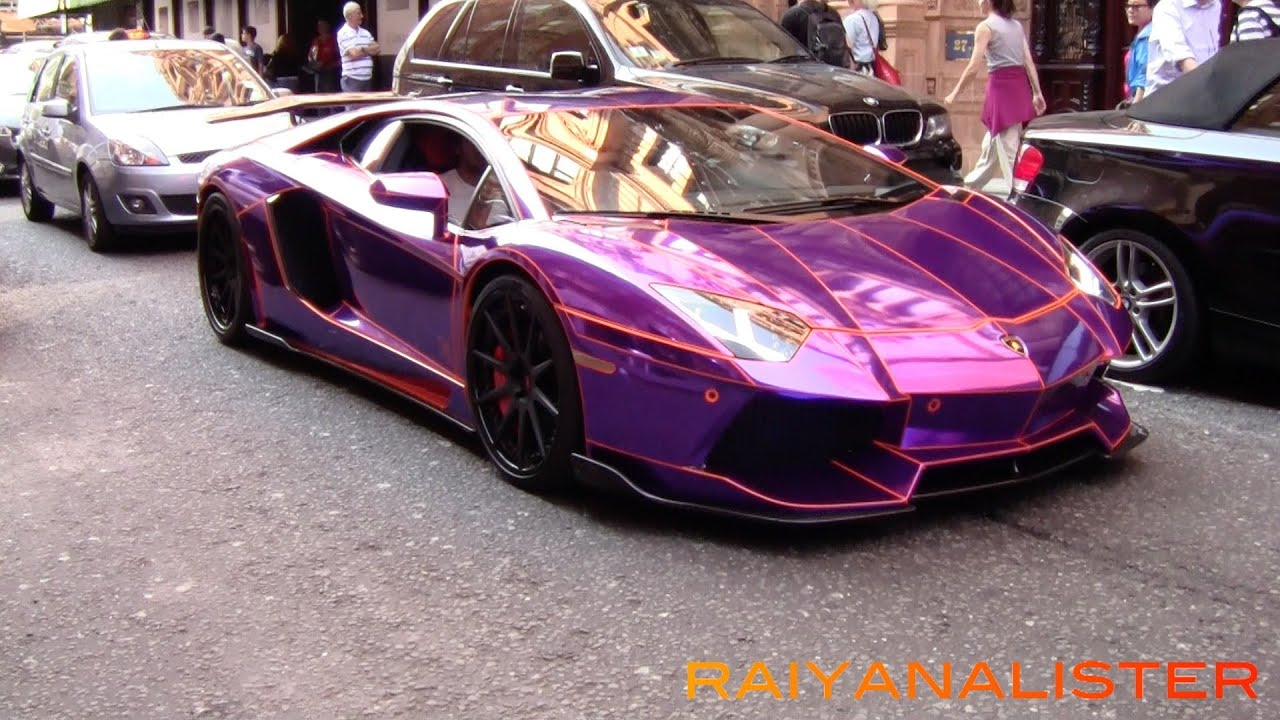 loud chrome purple aventador in london sound overview