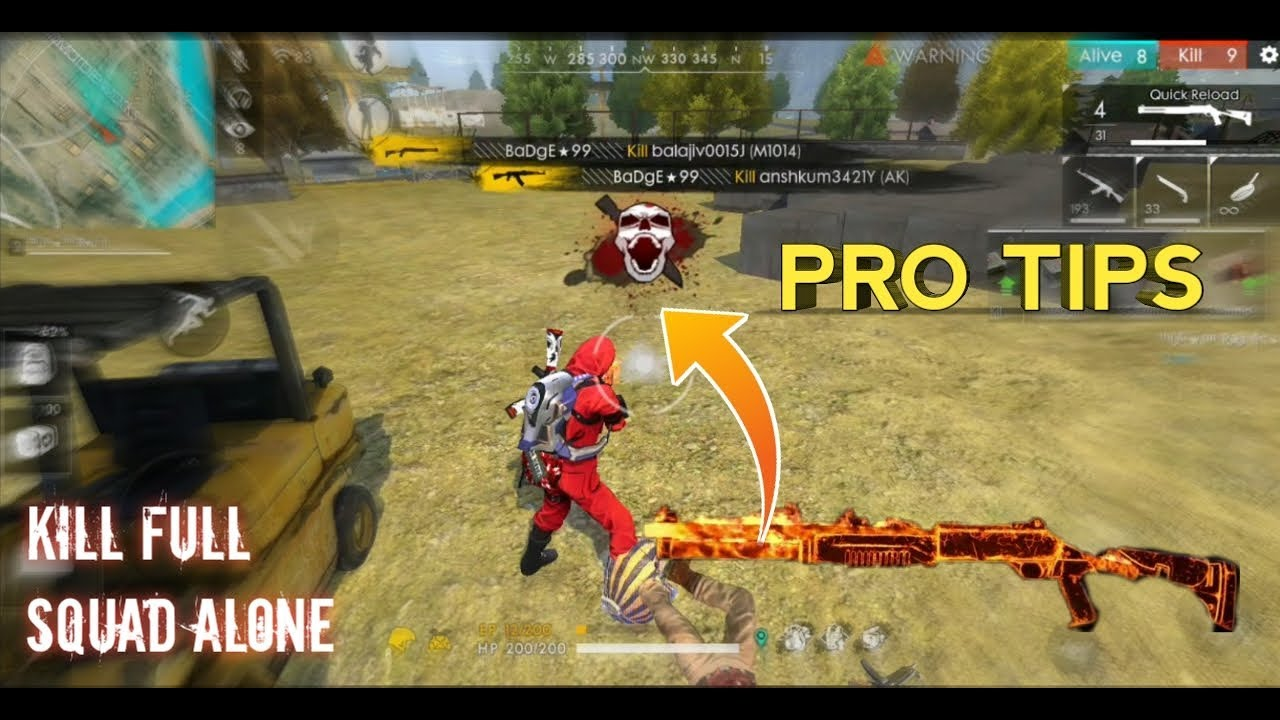 Free Fire Kill Full Squad Alone Tips Tricks 17 Kills Gameplay