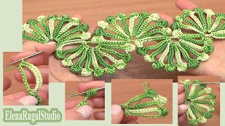 Repeat youtube video Double Sided Large Shells Crochet Lace Tutorial 10 Crochet Shell Motifs