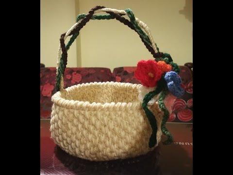 Cestino Alluncinetto Buona Pasqua Crochet Basket Cesta