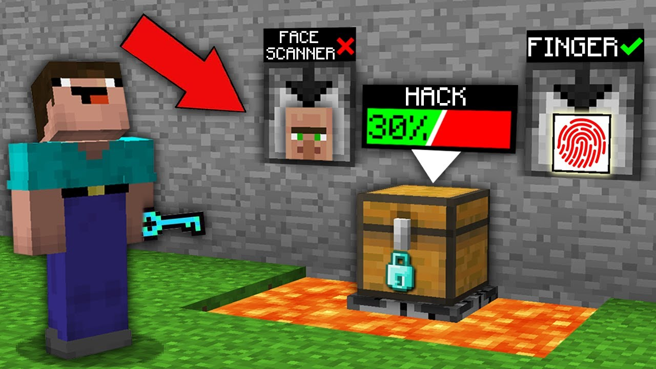 Minecraft NOOB vs PRO: HOW NOOB HACK CHEST WITH FACE SCANNER VS FINGERPRINT SCANNER VS DIAMOND LOCK?