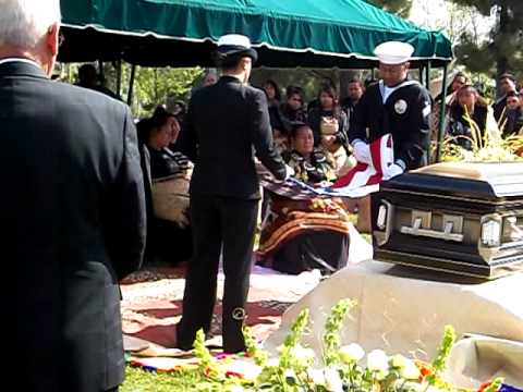 Nita & La'a folding the flag. --RIP Tavake Ngalo.