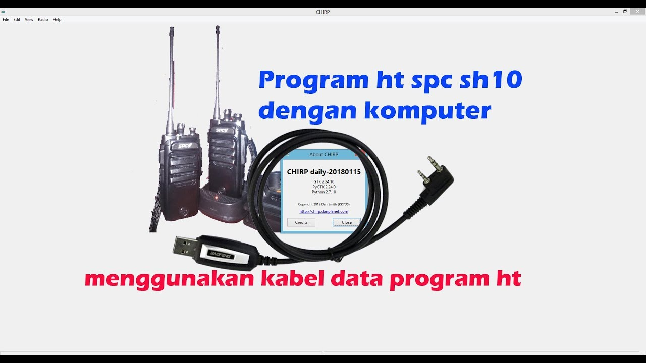 Program ht spc sh10 dengan software chirp (menggunakan kabel data ht)  #chirp #software #ht