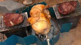 Overlanding / Roasting A Whole Chicken / Grilling Tenderloin / Firebox Stove.