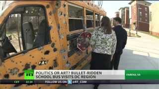 School bus pumped full of 6,000 bullets: art or extreme?