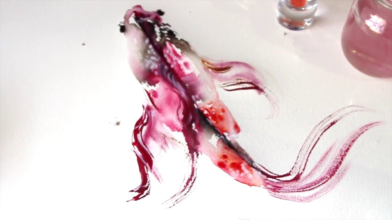 watercolor tutorial koi fish painting wet to wet