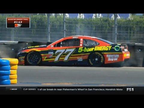 Monster Energy NASCAR Cup Series 2017. FP2 Sonoma Raceway. Cole Whitt Spin | Erik Jones Crash
