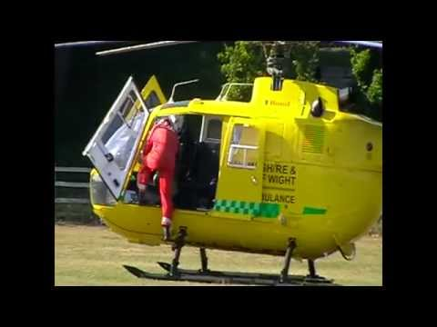 Baiter Park,Poole UK. Start Helikoptera. Medical Helicopter Is Starting In Poole.