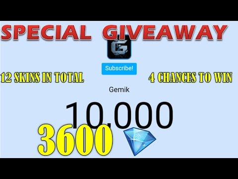 WE ARE 10 000 + ! SPECIAL 12 SKINS GIVEAWAY ! 3600 DIAMONDS TO WIN