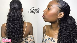 SLEEK & CHIC Install: DIY Drawstring Ponytail | PART 2 | Detachable Human Hair Ponytail (no glue)