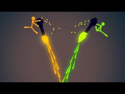 EXTREME FLYING MINIGUN STICK FIGHT! (Stick Fight #11) |