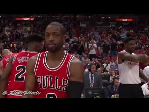 Dwyane Wade Having fun with Udonis Haslem Pregame   Bulls vs Heat   2016 17 NBA Season