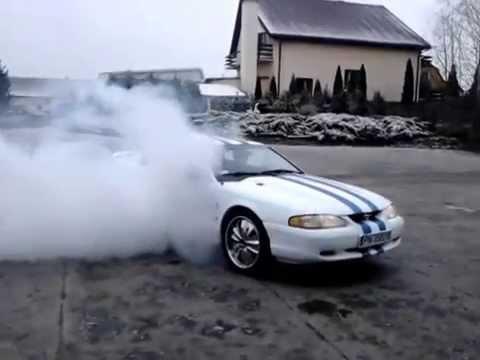 Mustang sn95 burnout dopalenie opon przed wymianą łosice