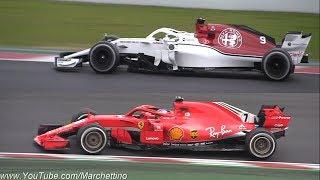 2018 Ferrari SF71H vs Alfa Romeo Sauber C37 Formula 1 - First Shakedown & Sound!