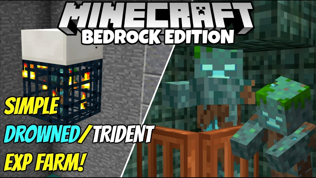 Minecraft Bedrock: Simple Drowned And Trident EXP Farm Tutorial! MCPE Xbox  PC