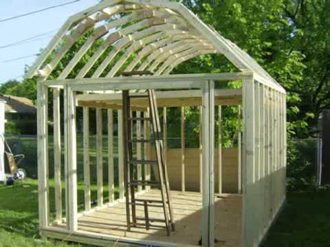Building a gambrel shed youtube for Gambrel shed