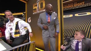 Young Cancer Survivor Interviews Peyton Manning | Super Bowl 50 Opening Night