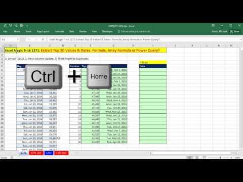 Excel Magic Trick 1271: Extract Top 20 Values & Dates: Formula, Array Formula or Power Query?