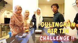 GULINGKAN AIR TIN CHALLENGE !! - DAPAT TELUR KENA DENDA !!