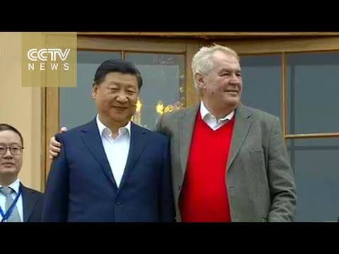President Xi Jinping arrives at Czech presidential residence Lány Castle for welcome banquet