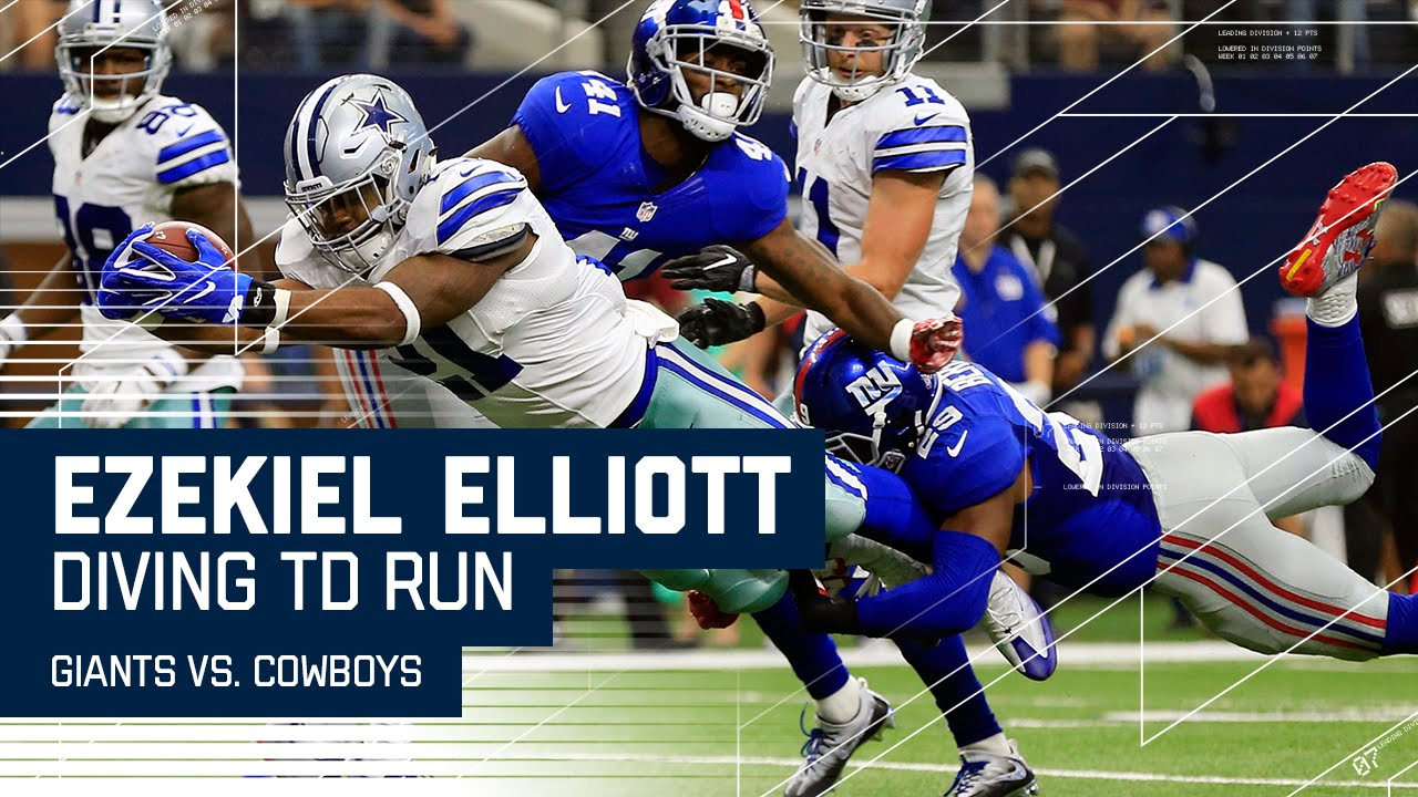 Dallas Cowboys Scores >> Ezekiel Elliott Scores 1st Career TD After Brandon Carr's Nice INT! | Giants vs. Cowboys | NFL ...