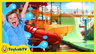 Water Slide Fun & Races on Giant Rides at Water Park! Family Friendly Outdoor Activities Kids Video