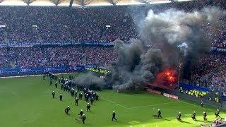 Pyro & Rauchbomben beim Spiel Hamburg - Gladbach - HSV Abstieg
