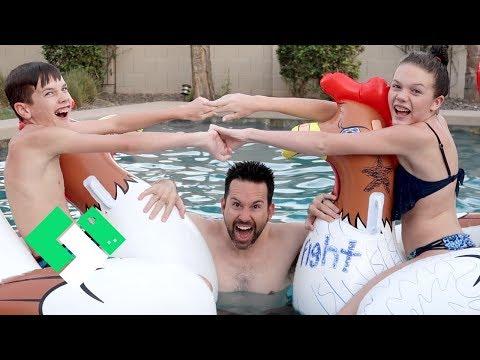 Last Day of Summer Break Chicken Fight in the Pool! | Clintus.tv