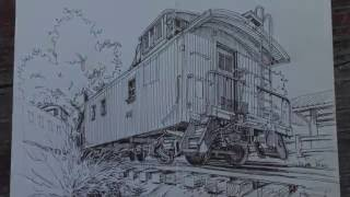 Paul Heaston Sketching at the Colorado Railroad Museum in Golden