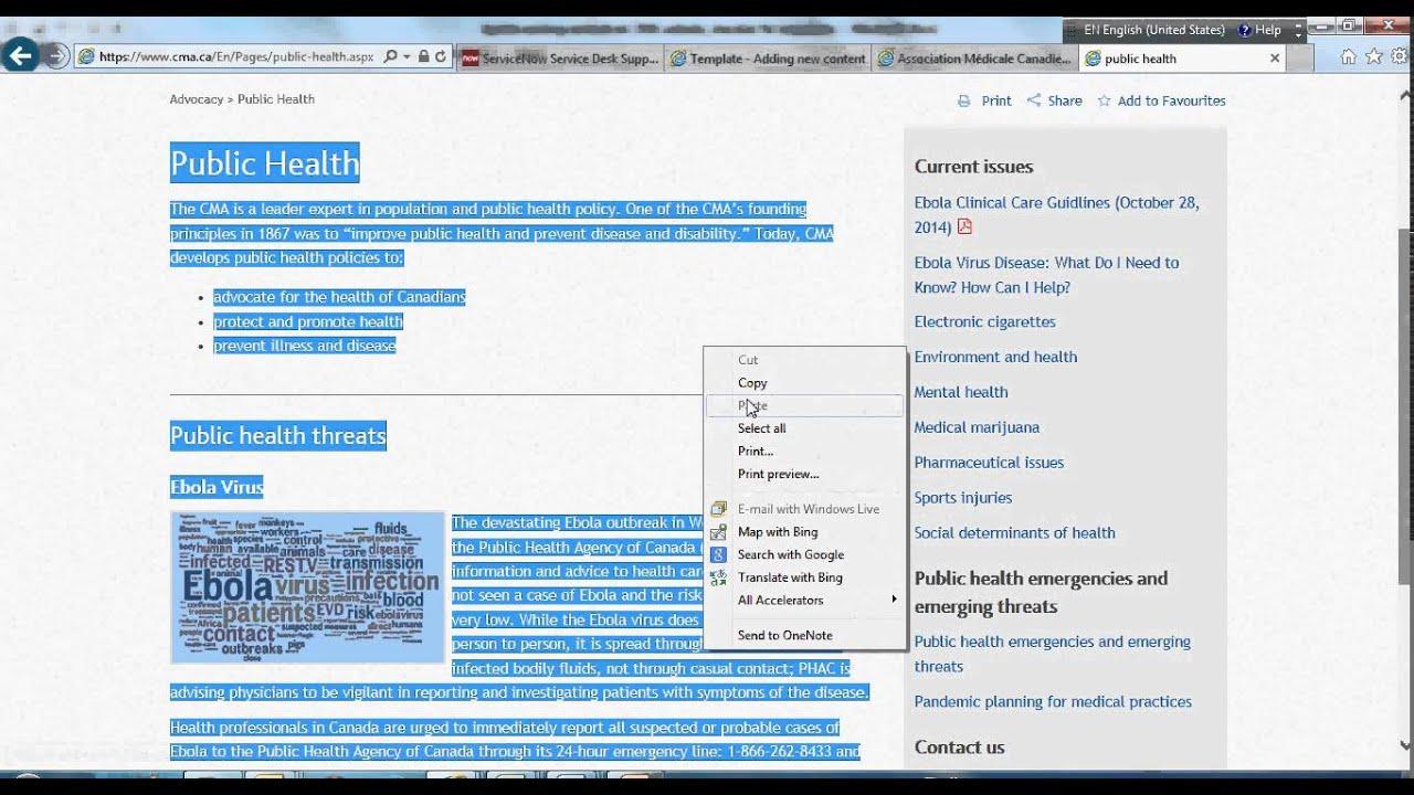 Webpage copy