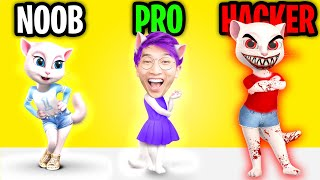 Can We Go NOOB vs PRO vs HACKER In TALKING ANGELA!? (SHE'S WATCHING US!?)