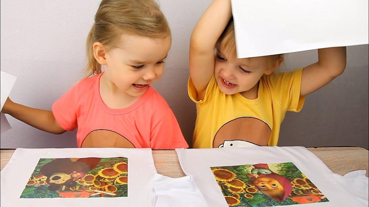 Маша и Медведь переводные картинки на ткань Masha and the ...