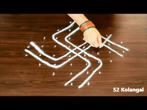 pulli kolam designs - easy melikala muggulu designs - easy sikku kolam with 8 dots