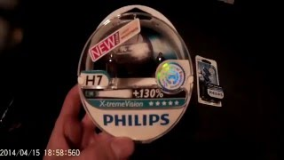 Test Philips H7 X treme VISION +130% & Philips w5w Xenon Ultimate Effect