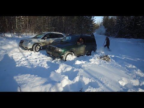 Subaru Forester vs Suzuki Escudo в глубоком снегу, или как мы ехали 50 метров 3 часа