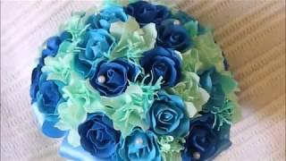Букет невесты синий, голубой мята