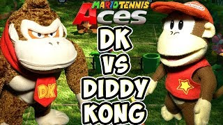ABM: Donkey Kong Vs Diddy Kong !! Mario Tennis Aces Gameplay Match !! HD