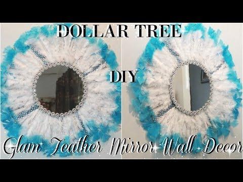 DIY DOLLAR TREE | GLAM FEATHER MIRROR WALL DECOR | DIY ROOM DECOR | PETALISBLESS