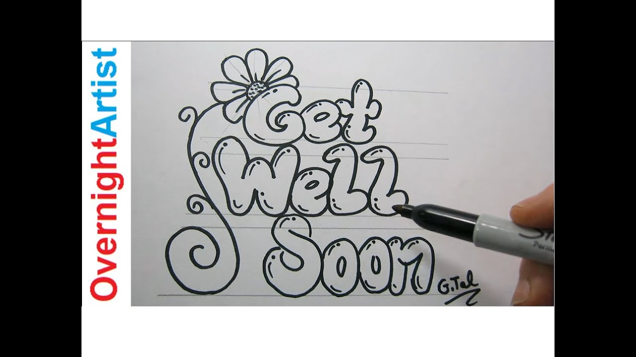diy get well soon card easy step by step black marker youtube