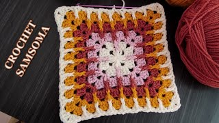 تعليم الكروشيه للمبتدئات / كروشيه مربع الجراني بالعواميد الامامية / Crochet Mosaic Granny Square