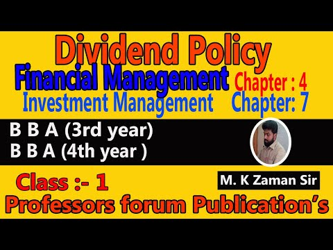 Financial Management + Investment Management-(3rd +4th Year)- Class--1