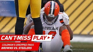 Kizer Scrambles to Keep Play Alive, but Coleman Drops the Pass | Can't-Miss Play | NFL Wk 17