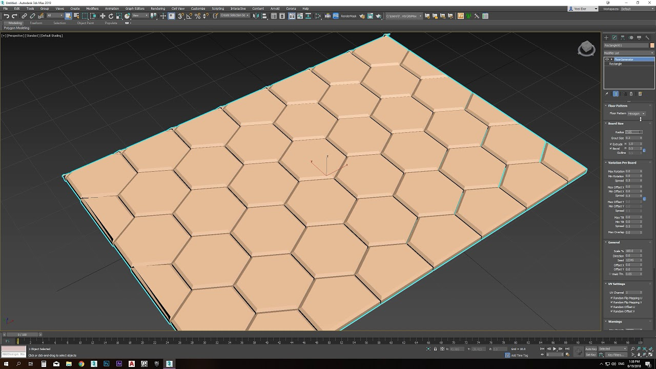 3ds max Floor Generator Hexagon
