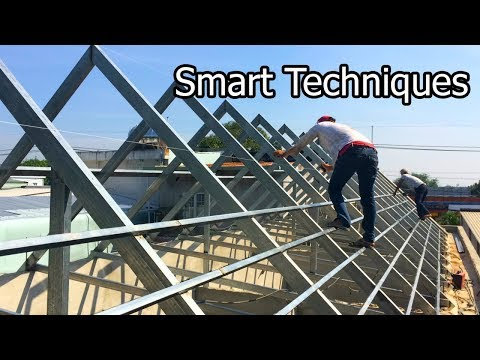How to Building Frame a Roof  by steel frame - Amazing Smart Techniques