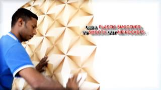 How to Install 3D Korean Wallpaper using Glue - DIY by Alaqsa Carpets