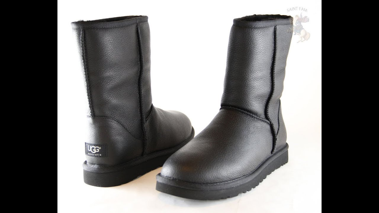Black Leather Ugg Boots - YouTube