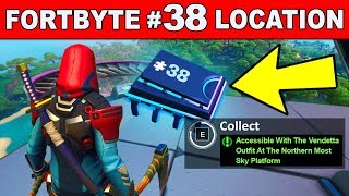 Fortbyte #38 - ACCESSIBLE WITH THE VENDETTA OUTFIT AT THE NORTHERN MOST SKY PLATFORM Fortnite