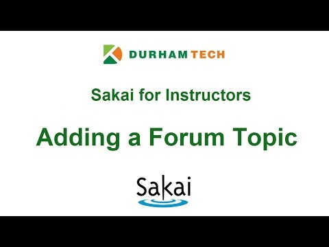 For Instructors: Adding a Forum Topic