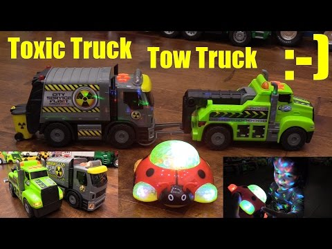 Toy Cars and Trucks: Adventure Wheels Tow Truck and Garbage Truck Unboxing and Playtime w/ Marxlen