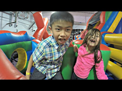 GIANT INFLATABLE Bounce House Jumper & Velcro Wall, Huge Slide & Kids Indoor Playground Fun